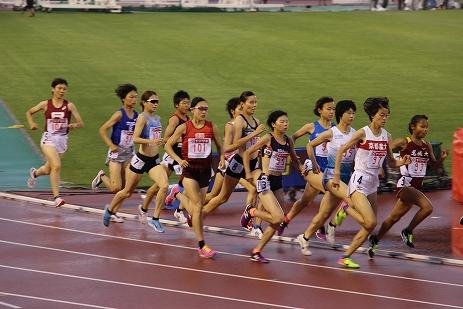 日本陸上競技選手権女子1500m決勝で力走する岩川選手(左から3人目)