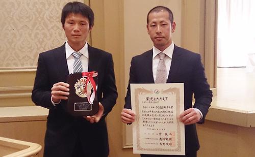 スポーツ優秀選手賞を受賞したボート部員